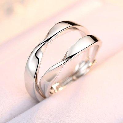 情侶戒指925純銀飾品簡約個性男女對戒日韓一對學生活口刻字禮物ஐ風行購物街ஐ