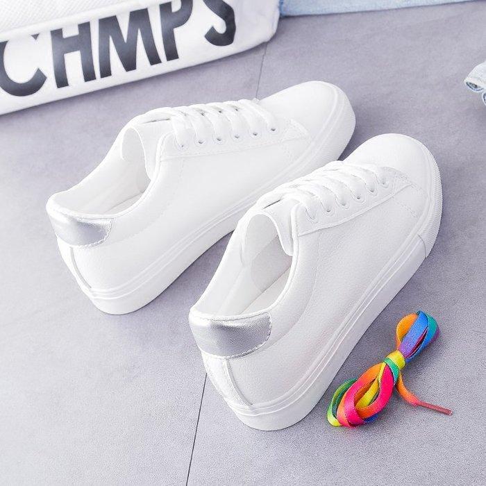 創意夏季女鞋 小白鞋女內增高新款韓版學生皮面chic百搭鞋子基礎厚底板鞋女
