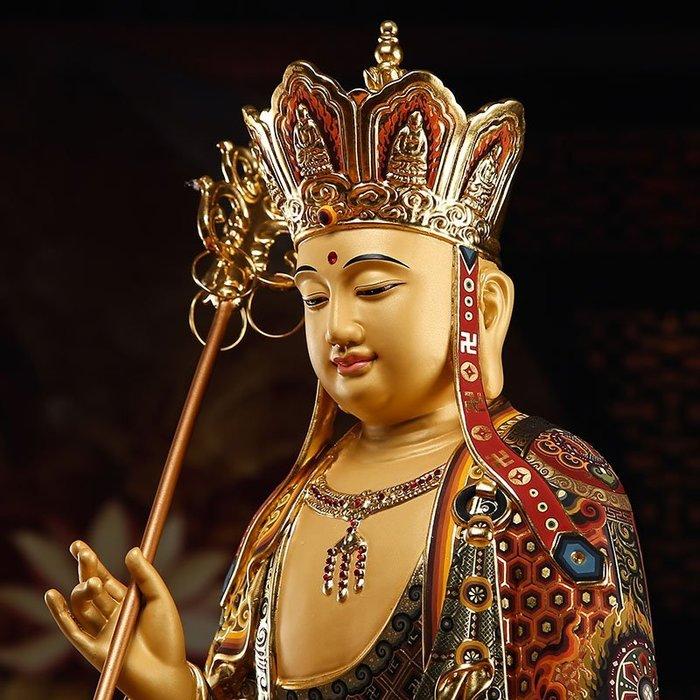 佛系☼純銅佛像 地藏王菩薩 手工貼金彩繪地藏王銅像 娑婆三圣 擺件