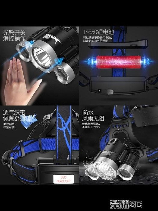 手電筒 探露LED頭燈強光充電感應遠射3000頭戴式手電超亮夜釣捕魚礦燈Y-優思思