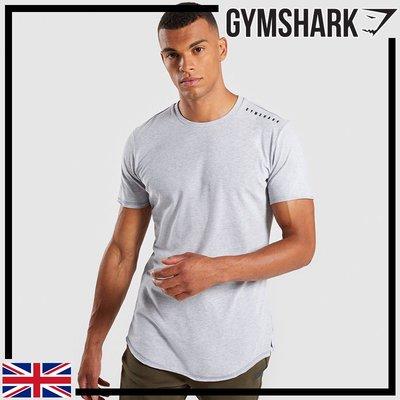 GYMSHARK RAISED LOGO T-SHIRT 棉質長版運動短袖-淺灰