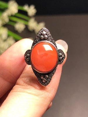 天然南紅瑪瑙戒指 南紅瑪瑙仿舊復古風格925銀活圍戒指 飾品配件《舒唯水晶》