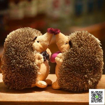 抱枕 可愛情侶小刺猬公仔毛絨玩具玩偶男女女生女孩兒童仿真布娃娃 玫瑰女孩