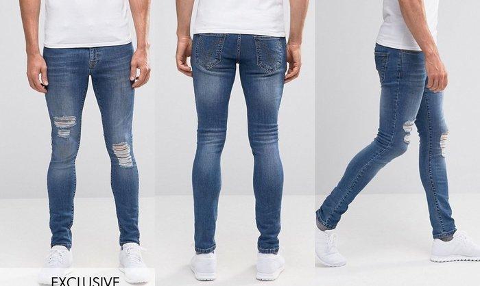 ◎美國代買◎ASOS代買刷破刷白設計經典藍色頹廢風刷破合身顯廋牛仔褲~英倫街風~大尺碼