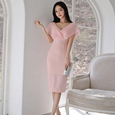 ❈♊❤♍❈EASY NOW - 2019-尺寸SMLXL-韓夏季新款氣質女人味低胸V領斗篷式無袖顯瘦修身高腰連身裙MY