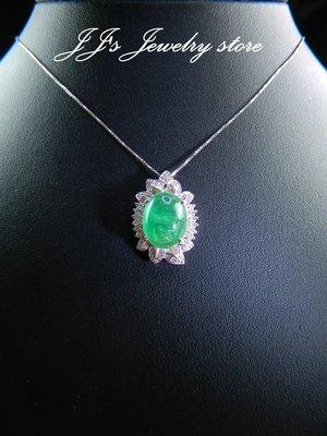 【J.Jewelry Store】8克拉大蛋面祖母綠鑽石墜 投資首選 送禮 EP1310252 鋐錡珠寶