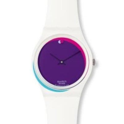 [永達利鐘錶 ] swatch 白色紫面設計膠帶錶GW155  原廠公司保固24個月 35mm