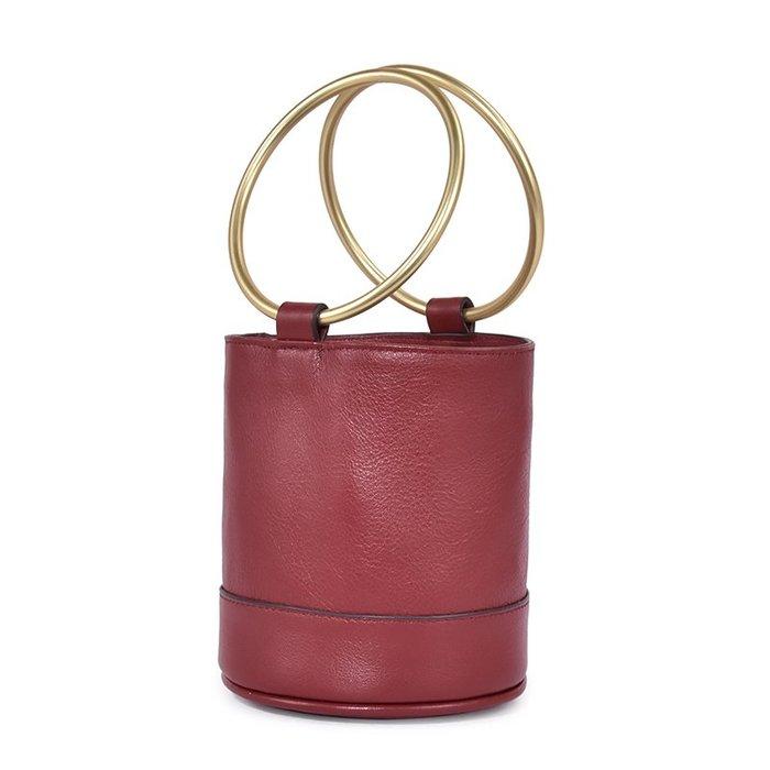 真皮水桶包 束帶縮口 手提包 圓環手提 水桶包 免運費 RM 9005【FQ包包】