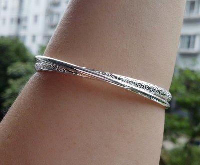 嗨,寶貝銀飾珠寶* 925純銀☆999純銀 時尚精品 古典圖騰淺雕 雙環 實心純銀手環 手鐲