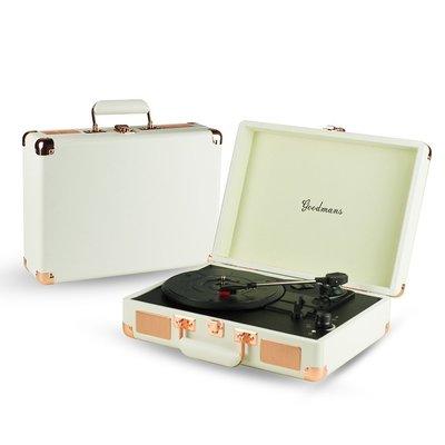 【台灣保固】Goodmans Ealing Turntable 英國手提箱黑膠唱片機 - 白色
