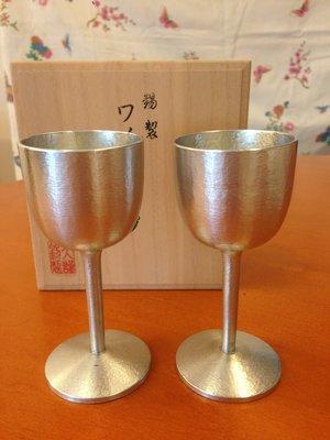 日本製 大阪錫器  錫製高腳酒杯一組/2pcs(木盒裝)