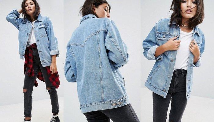◎美國代買◎ASOS雙有蓋大口袋飾淺藍刷色寛鬆女朋友版牛仔夾克外套~歐美街風~大尺碼