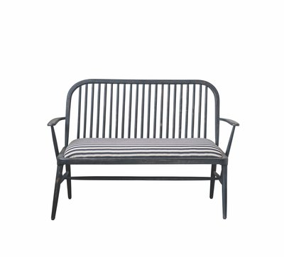 【Eze Art Deco】美國設計師傢飾,  美式鄉村復古芒果木條紋布藝雙人椅扶手靠背沙發座