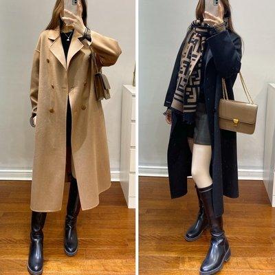 限量超值價!100%雙面羊毛中長款顯瘦大衣 毛呢外套冬新 黑色 灰綠 駝色 ♥ C Select Shop