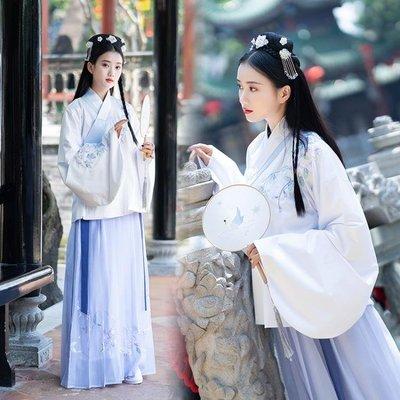 傳統漢服女裝中國風非古裝清新淡雅清韻蘭花刺繡雙層交領襖裙秋冬洋裝  免運