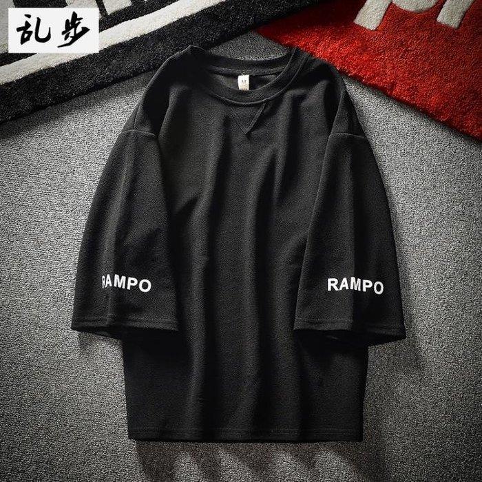 七分袖夏季寬鬆男韓版bf風學生印花上衣日系原宿潮流五分短袖t恤一件免運