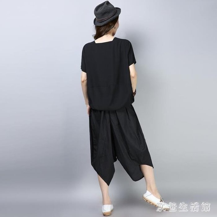 【新品上市】夏季民族風女裝寬鬆短袖大碼上衣休閒套裝棉麻九分闊腿褲 〔可愛咔〕