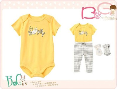 【B& G童裝】正品美國進口GYMBOREE Be Hoppy Bodysuit 兔子臉黃色短袖連身衣6-12-18m
