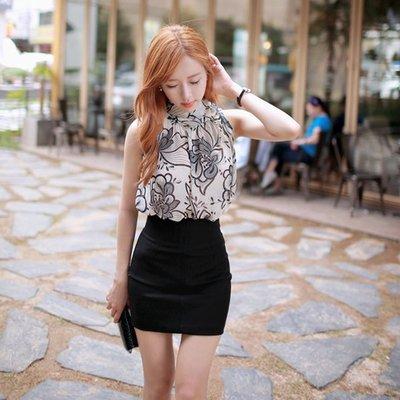 2016夏季新款韓國氣質短款雪纺衫ol印花寬鬆無袖露肩挂脖性感上衣