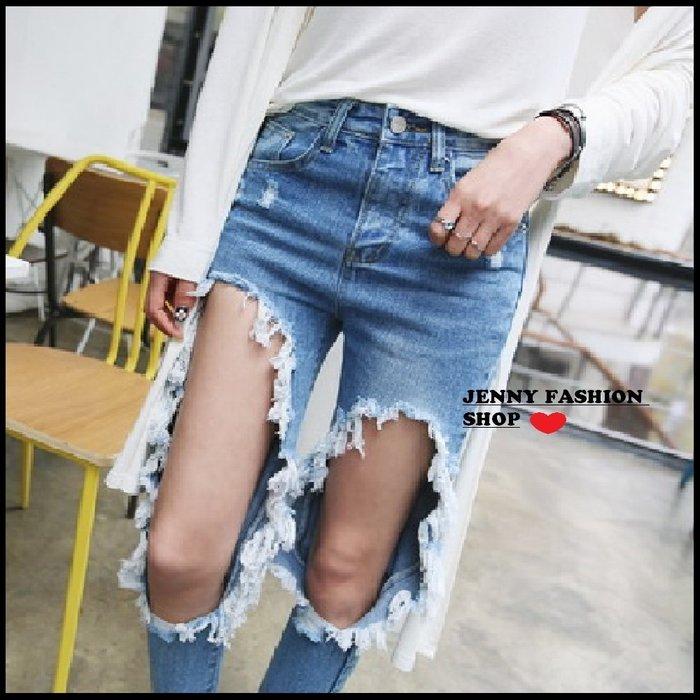 ∴?☆ 【JENNY SHOP】☆*∴ 韓國連線 正韓~復古大刷破淺藍色牛仔褲-預購