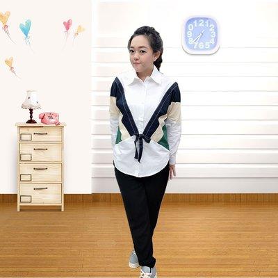 韓國 設計款 配色蝴蝶袖襯衫