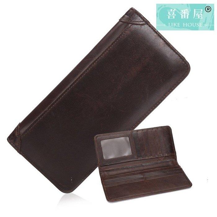 【喜番屋】真皮頭層牛皮皮男士皮夾皮包錢夾錢包長夾男夾【LH610】