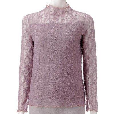 優雅蕾絲長袖內搭衣  透膚設計彈性好內裡棉布料吸汗好舒服   柔軟蕾絲 不會刺 穿搭更顯高貴