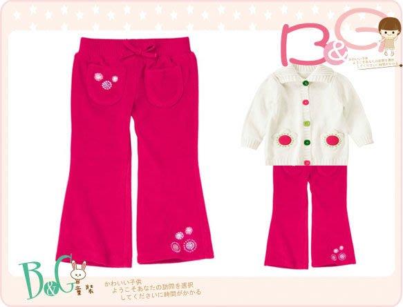 【B& G童裝】正品美國進口Crazy8刺繡雪花圖樣外軟刷毛內棉質桃紅色長褲2yrs