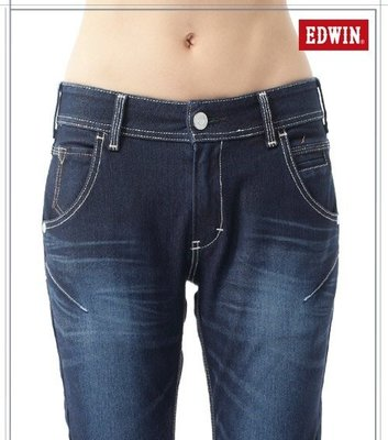 Look 鹿客 EDWIN 503 JERSEYS迦績立體剪裁牛仔褲-女款 原藍磨147166-001