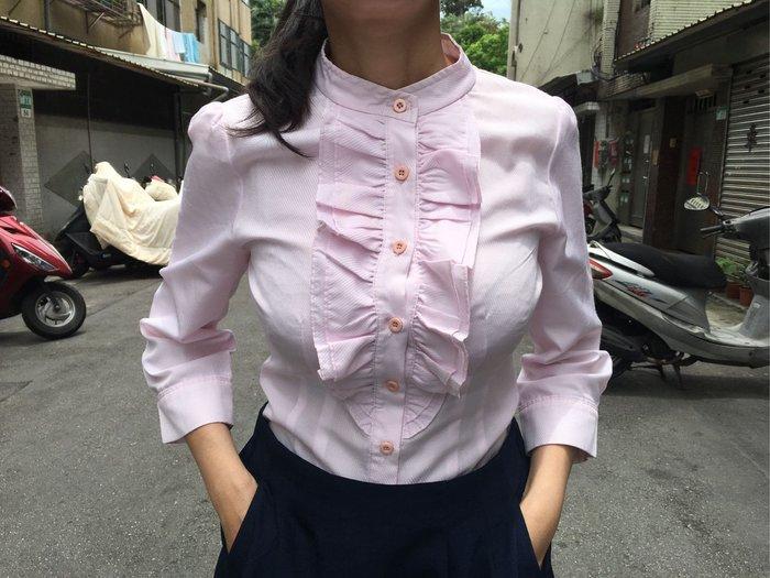 二手MASTINA粉紅色小立領七分袖荷葉邊襯衫 上班族OL必備