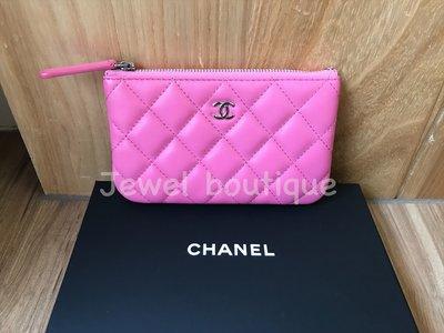 Chanel  經典菱格紋 桃粉色羊皮銀cc 一字拉鍊零錢包 卡包 錢夾短夾 保卡27 全新現貨 限量粉