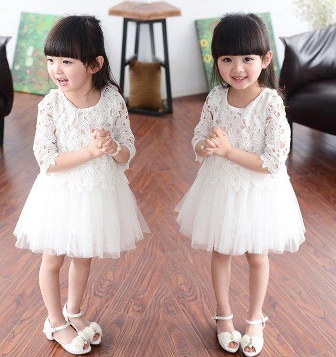 韓版《蕾絲簍空款》甜美七分袖洋裝 小蓬裙  (J2-4)