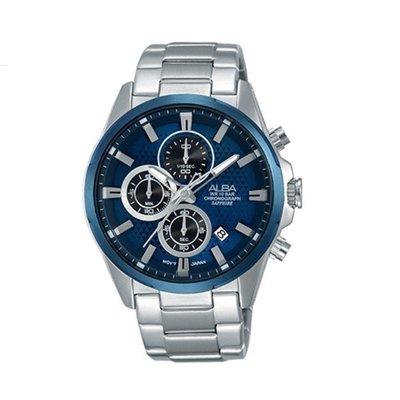 可議價「1958鐘錶城」ALBA雅柏 SPECIAL 男 廣告款三眼計時 石英腕錶(AM3345X1) 43mm