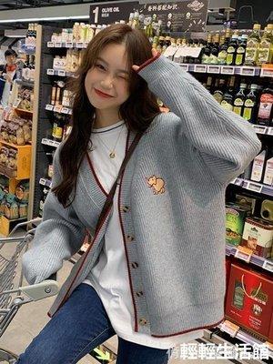 2019秋季新款韓版慵懶風上衣可愛刺繡V領外套寬鬆長袖針織毛衣女qqshg