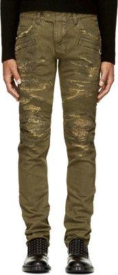 現貨BALMAIN FW1415新品 卡其仿舊刷破經典Bikerr Jeans騎士牛仔褲