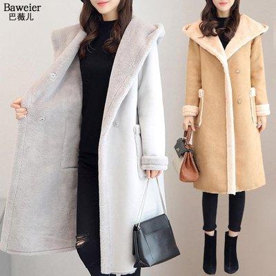 羊羔毛加絨鹿皮絨厚外套女冬2018新款棉衣中長款棉襖大衣