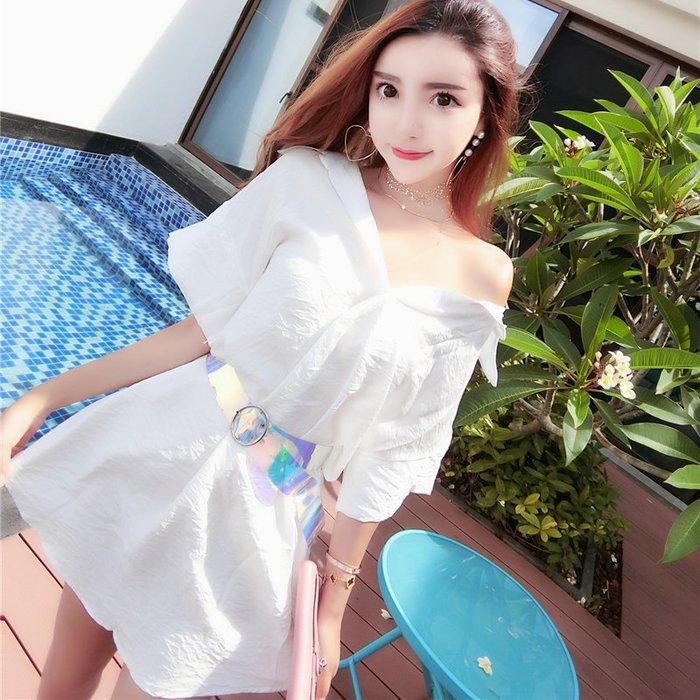 連衣裙女春裝新款韓版時尚氣質系帶V領寬松大碼顯瘦襯衫裙子