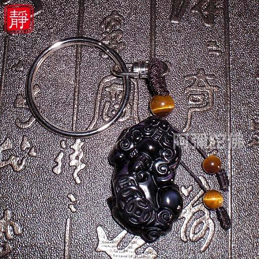 【靜心堂】現貨:黑曜石*貔貅*鑰匙圈--招財貴人(37*22mm)