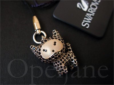 送禮 美國 真品 SWAROVSKI 施華洛世奇 限量版 黑水晶鑽 黑貓咪手機吊飾 禮盒裝 免運費 愛Coach包包