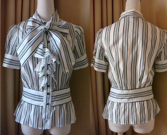 二手 【 MANGO】(MNG) 修身款 荷葉領 綁蝴蝶結襯衫 S號