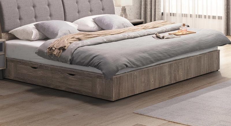 【風禾家具】FSY-9-2@工業風5尺雙人雙抽屜床底【台中9600送到家】床台 床底箱 耐重 低甲醛木心板 台灣製傢俱