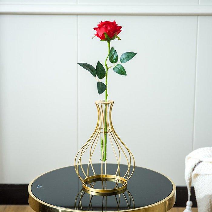 創意花瓶北歐鐵藝插花透明玻璃瓶現代家居客廳餐桌酒柜裝飾品擺件