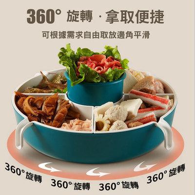 糖衣子輕鬆購【AS0233】網紅旋轉火鍋拼盤蔬菜洗菜盆瀝水籃家用雙層多格水果盤食材裝菜藍