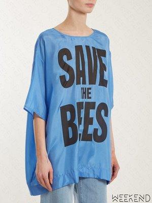 【WEEKEND】 KATHARINE HAMNETT LONDON Save The Bees 緞面 T恤 藍色