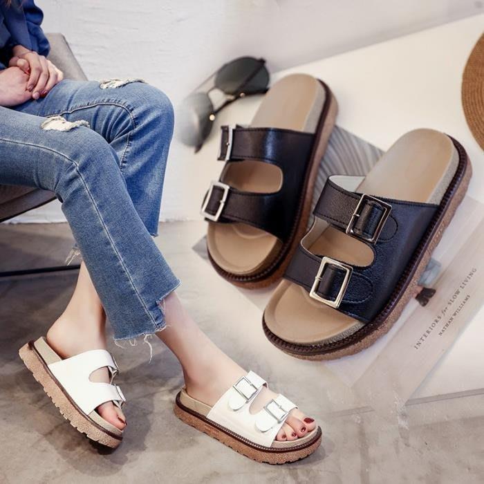 涼拖鞋女夏季2019時尚外穿鬆糕厚底皮帶扣涼鞋學生一字拖沙灘拖鞋