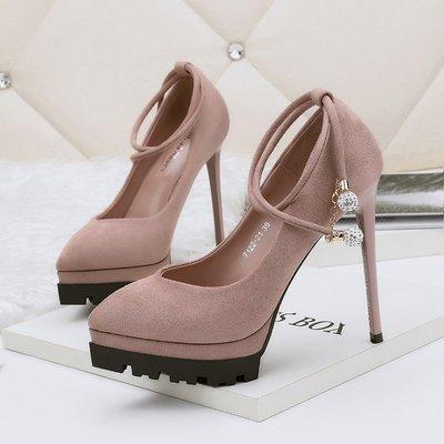 2018韓版時尚尖頭高跟鞋防水臺夜店性感女單鞋水鉆細跟女鞋
