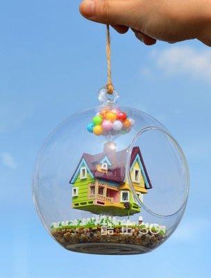 【酷正3C】迷你DIY小屋 袖珍娃娃屋 材料包 模型屋  日式懸掛玻璃球 飛屋情緣 Mini飛屋奇遇