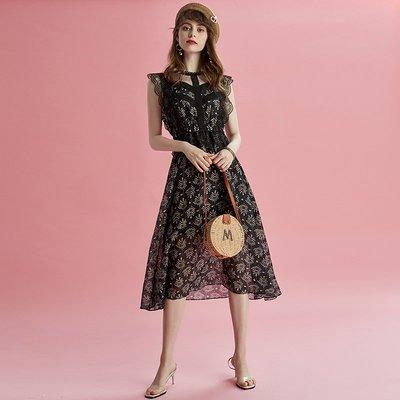 ☆TANG KOREA*╮正韓 蕾絲花邊拼接網紗收腰清新印花連身裙