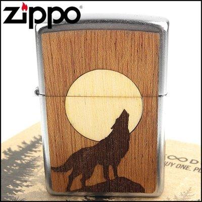 ☆哈洛德小舖☆全新【ZIPPO】美系~Howling Wolf-狼嚎月亮圖案-實木貼片打火機NO.49043