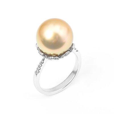 【JHT 金宏總珠寶/GIA鑽石專賣】13mm天然黃金珠戒指/材質:14K(PP00008)